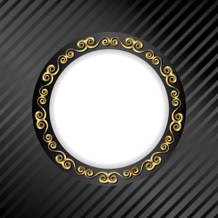 black background with golden frame Illustration