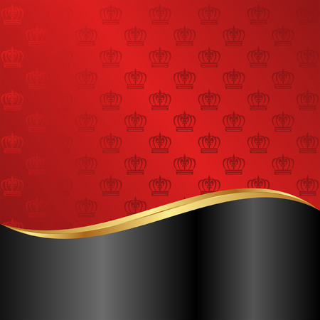 red and black background with crowns Vector