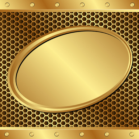 tread plate: golden background  with  banner