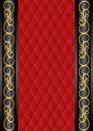 reflective background: black and red background with golden ornaments Illustration