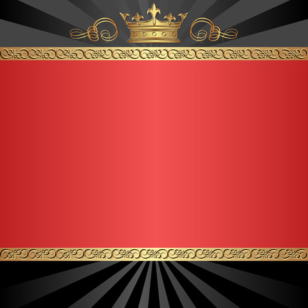 black and red background with golden crown Vector