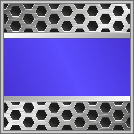 technics: metallic background  with blue banner