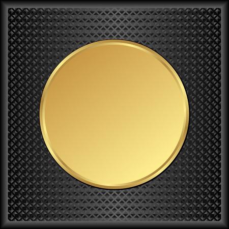 gold plaque: black background with round golden banner