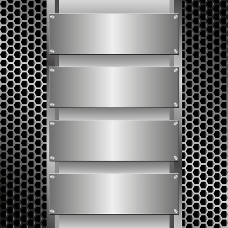 grille: grille texture with four metallic banners