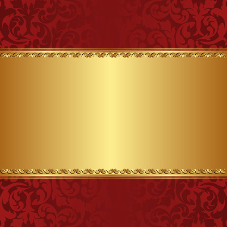 red and gold  background with floral ornaments
