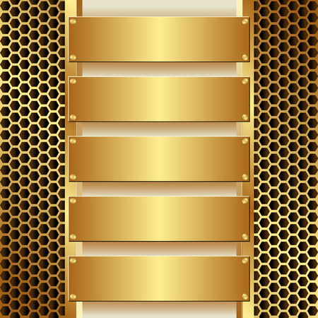 grille: grille texture with five golden banners Illustration