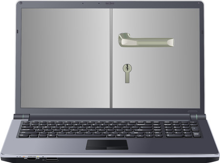 inaccessible: isolated laptop with handle Illustration