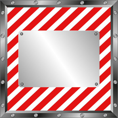 hazard tape: white and red  background with metallic plate
