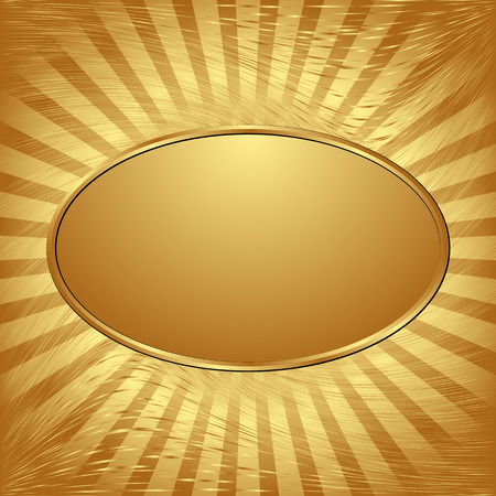 gold plaque: golden background with oval banner
