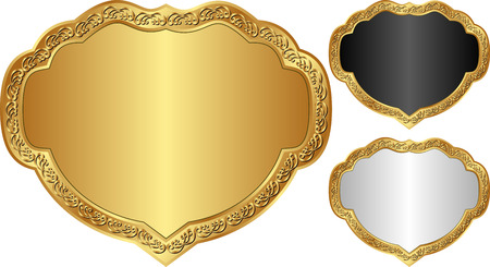 conjunto de marcos decorativos con borde dorado