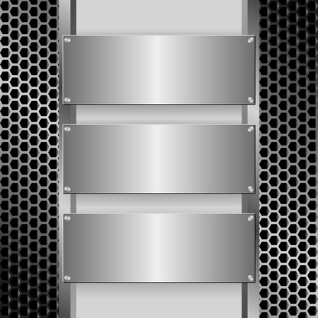 metallic banners: grille texture with three metallic banners