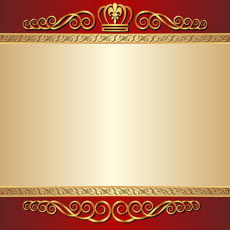 brushed: red and gold  background with ornaments Illustration