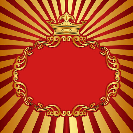 clip arts: red and gold background with decorative frame and crown