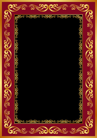 black and red background with golden frame