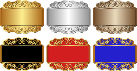 set of isolated banners with ornaments