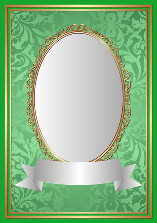 reflective: green background with decorative frame Illustration