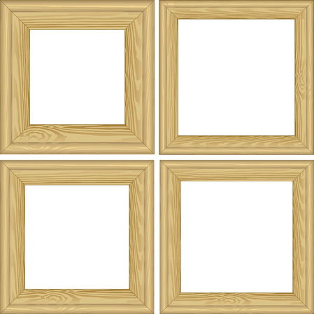wooden insert: set of wooden frames with transparent space insert for picture Illustration