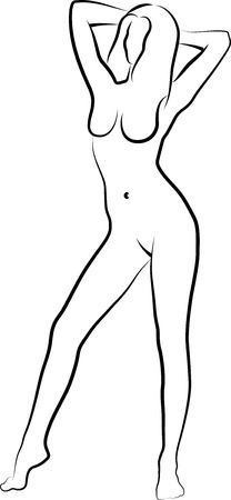 nude woman standing: sketch of a naked woman