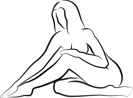 naked woman sitting: sketch of nude woman