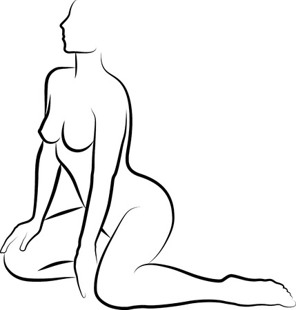 naked women sitting - vector illustration Illustration