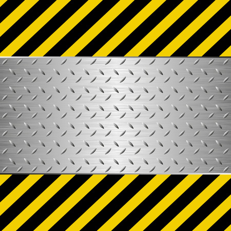 hazard tape: symbol of danger with metal plate