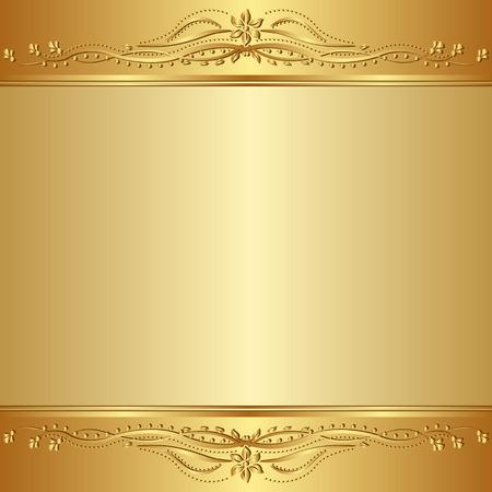 zlaté pozadí s květinovými ornamenty Ilustrace