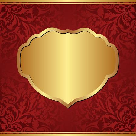 claret: claret background with golden frame Illustration