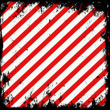 hazard sign: grunge background with white and red stripes