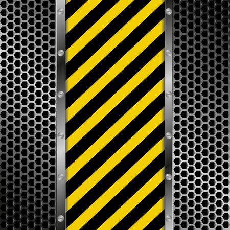 hazard tape: yellow and black stripes with grate texture Illustration