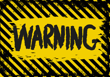 dangerous construction: grunge background with yellow and black warning signs Illustration
