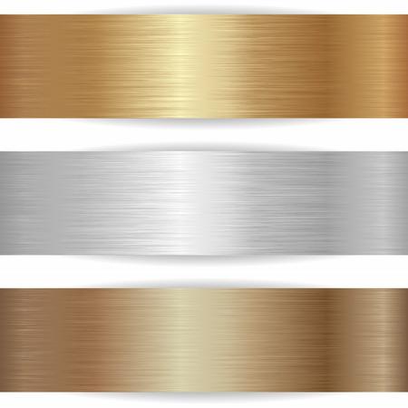 three metallic banners on white background  イラスト・ベクター素材