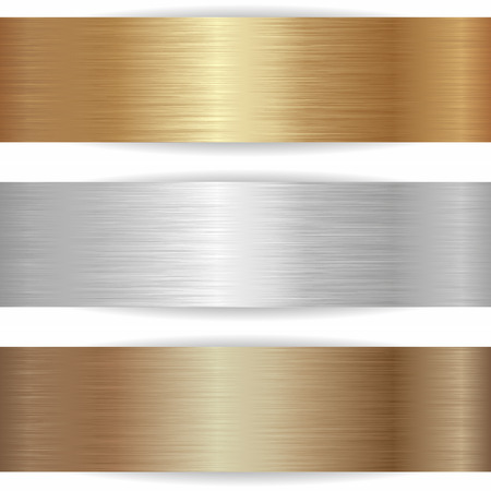three metallic banners on white background Vectores