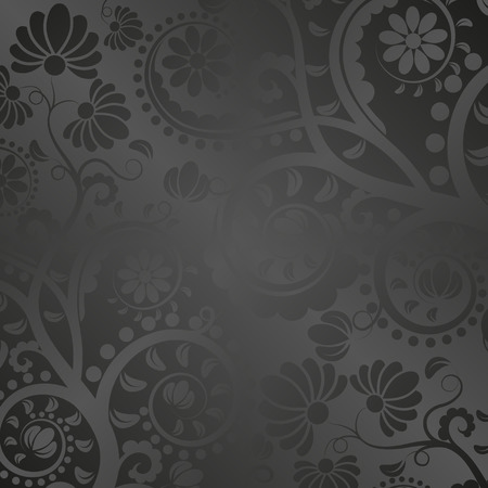 silken: black satin background with floral ornaments