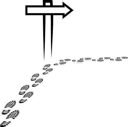 signpost and footprints Vector
