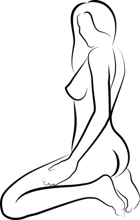 naked woman sitting: naked women sitting - vector illustration Illustration