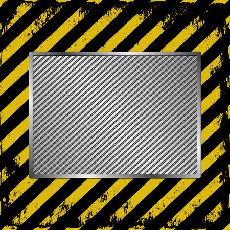 metallic tape: black and yellow stripes  with metallic banner Illustration
