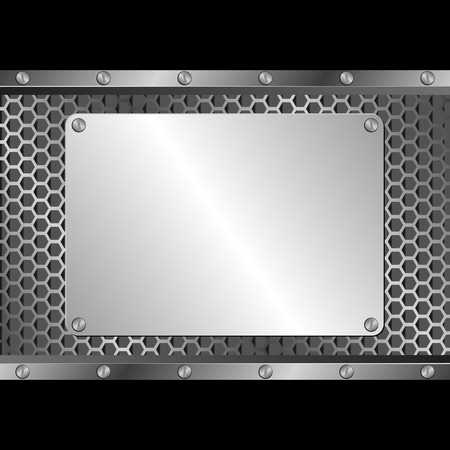 tread plate: black background with silver plaque