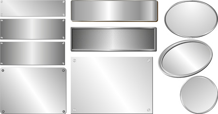 silver metal: set of isolated silver and metallic plaques