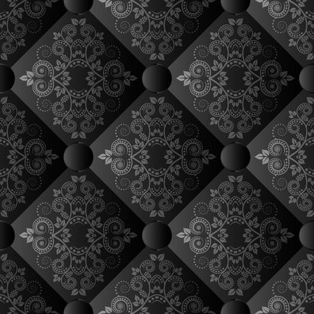 quilted fabric: floral pattern seamless or background with ornament