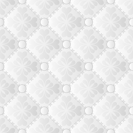 quilted fabric: white and gray pattern seamless or background with ornament
