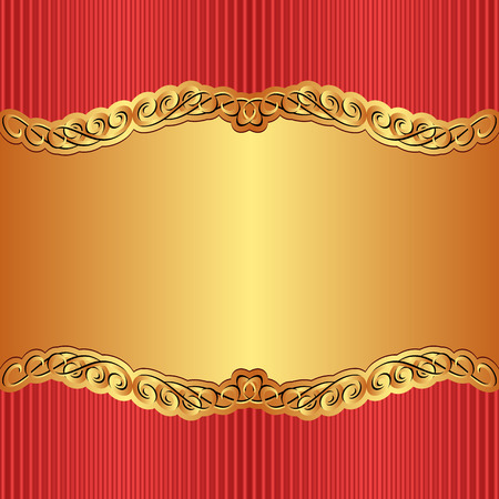gold and red background with golden ornament Vector
