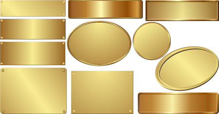 set of isolated golden plaques