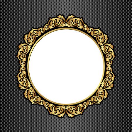 black background with golden frame and transparent space insert Illustration