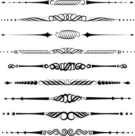 separator: set of calligraphic dividers and separators- design elements Illustration