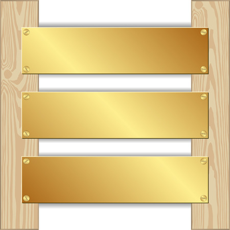 nailed: three golden plaques nailed to wooden planks Illustration