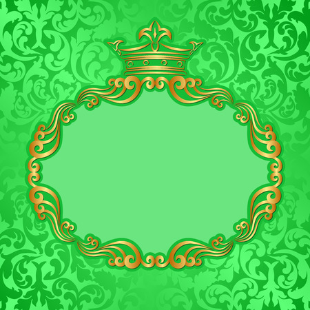 green background with golden frame