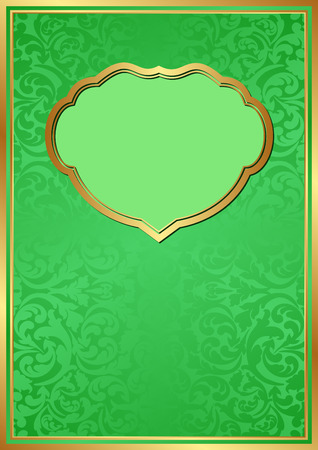 green background with decorative frame Illustration