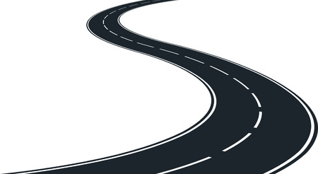 road line: isolated winding road - clip art illustration