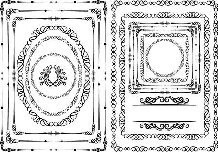 ovalo: conjunto de bordes y marcos - elementos de diseño Vectores