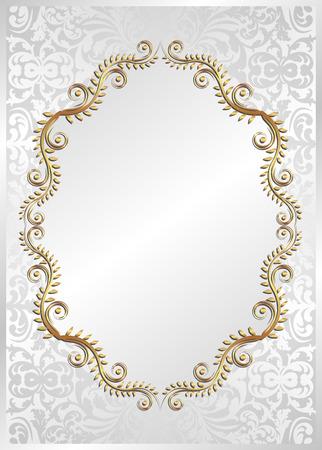white background with golden frame Illustration